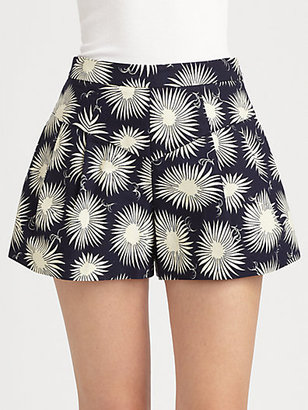 Milly Susie Flared Floral-Print Shorts