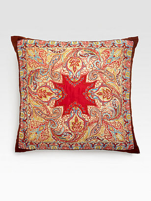 Etro Otter Embroidered Silk Accent Pillow