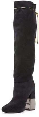 Lanvin Suede Chain-Strap Knee Boot, Dark Blue