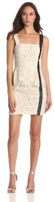 Charlotte Ronson Women's Daisy Organza Peplum Dress With Leather Detail