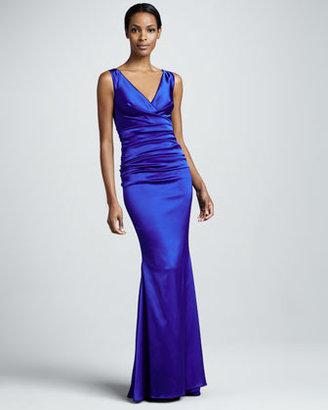 Talbot Runhof Sleeveless Ruched Mermaid Gown