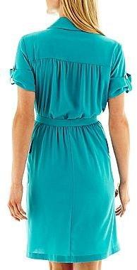 Liz Claiborne Solid Belted Shirtdress