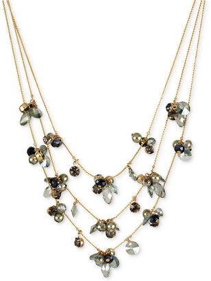 Kenneth Cole New York Necklace, Gold-Tone Faceted Bead Cluster Illusion Necklace