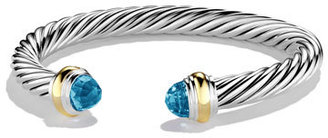 David Yurman Cable Classics Bracelet with Blue Topaz and Gold $775 thestylecure.com