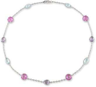 Ice.com 12 1/6 Carat Amethyst, Blue Topaz and Pink Sapphire Sterling Silver Necklace