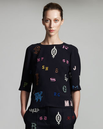 Stella McCartney Monogram-Embroidered Blouse