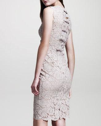 Valentino Bow-Back Lace Sheath Dress, Poudre