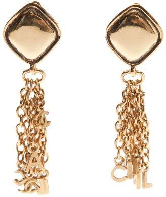 Chanel dangle word earring