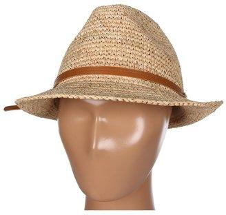Hat Attack Raffia Crochet Fedora with Tobacco Leather Trim Fedora Hats