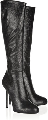 Sergio Rossi Barbie shagreen-textured leather knee boots