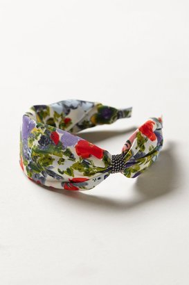Anthropologie Ruched Floral Turban Headband