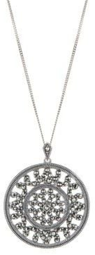 Lord & Taylor Sterling Silver and Marcasite Pendant Necklace