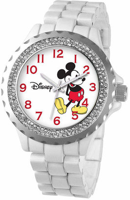Character Disney Womens Mickey Mouse White Enamel Sparkle Watch
