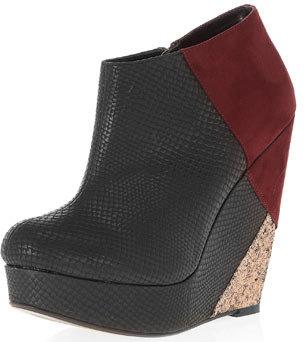 Dorothy Perkins Black snake wedge ankle boots