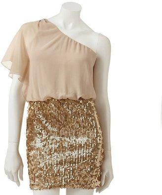 My Michelle sequin flutter asymmetrical dress - juniors