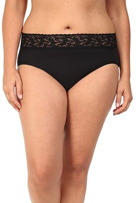Hanky Panky Plus Size Organic Cotton Signature Lace French Brief (Black) Women's Underwear