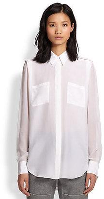 3.1 Phillip Lim Semi-Sheer Silk Boyfriend Shirt