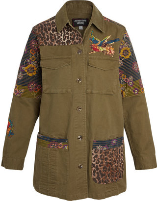 Johnny Was Patchwork Embroidered Military Jacket