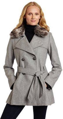 Via Spiga Women's Pleated Wool Trench Coat with Faux Fur Collar
