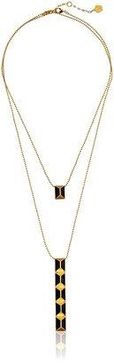 "Trina Turk Cubist House"" Gold Pyramid Stud Double with Black Enamel Pendant Necklace"