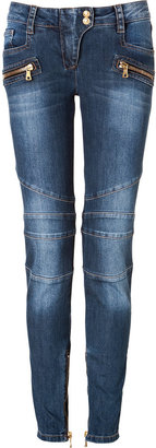Balmain Low Rise Biker Jeans in Vintage Blue