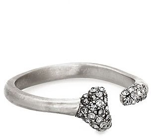 House Of Harlow Bone Ring with Black Diamond Pave in Silver