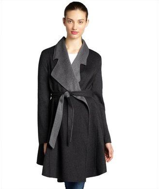 Dawn Levy grey cashwool blend two-tone belted coat