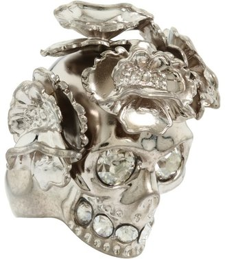 Alexander McQueen Skull Cocktail Ring Ottone (Sw. Cry. Sil. Sh) - Jewelry