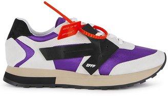 Off-White HG Runner Purple Grosgrain And Grey Suede Sneakers