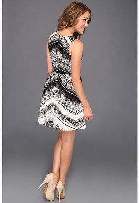 Nicole Miller Chevron Batik-Washed Satin Strapless Dress
