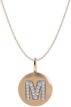 14k Rose Gold Necklace, Diamond Accent Letter M Disk Pendant
