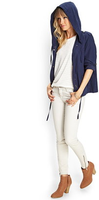 Forever 21 Contemporary Hooded Twill Utility Jacket