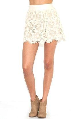 Blu Pepper Crochet High Waist Skirt in Ivory
