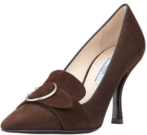 Prada Mid-Heel Pointed Loafer Pump, Brown