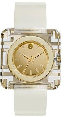 Tory Burch Izzie Leather-Strap Golden Watch, White $495 thestylecure.com
