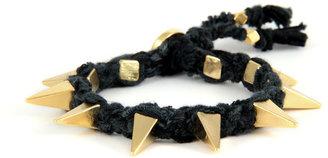 Ettika Ribbon Bracelet w Pyramid Spikes in Black