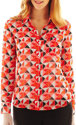 Liz Claiborne Long-Sleeve Print Blouse with Cami