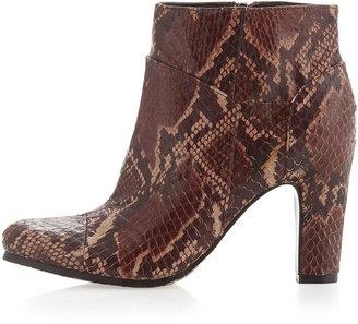 Sam Edelman Salina Snake-Print Ankle Boot, Chocolate
