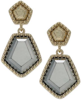 Alfani Earrings, Gold-Tone Hematite Stone Double Drop Earrings
