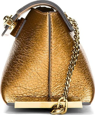 Chloé Brass Metallic Leather Clare Mini Shoulder Bag