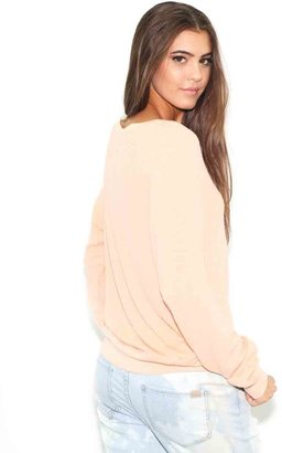 Wildfox Couture Live on an Island Beach Baggy Jumper in Coral Shell