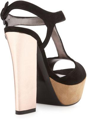 Pelle Moda Yvanka Colorblock T-Strap Sandal, Black