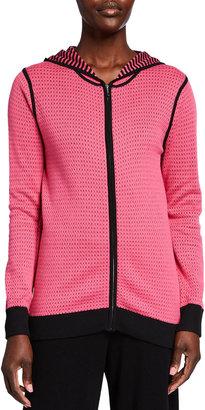 Joan Vass Double-Face Mesh-Knit Sweater Hoodie