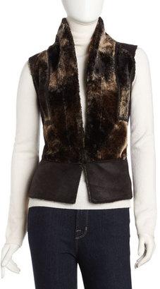 Romeo & Juliet Couture Faux-Fur Vest, Black
