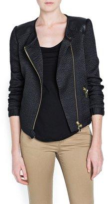 MANGO Outlet Leather Appliqués Biker Jacket