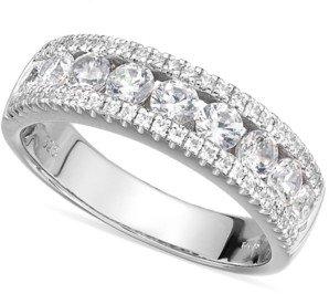 Arabella Sterling Silver Swarovski Zirconia Three-Row Ring (2-1/10 ct. t.w.)