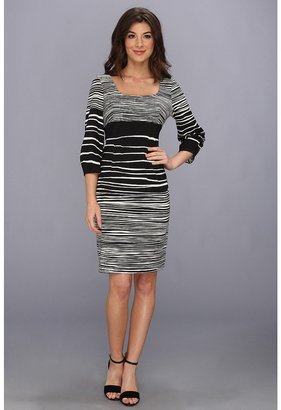 Nine West Brushstroke Stripe L/S w/ Exposed Dart Dress (Ivory/Black) - Apparel