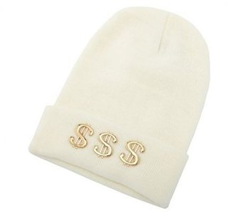Charlotte Russe Dollar Sign Knit Beanie