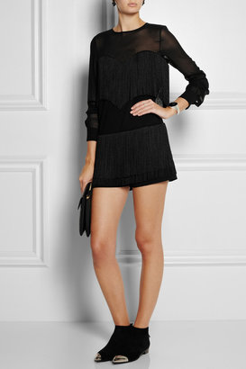 Moschino Cheap & Chic Moschino Cheap and Chic Fringed crepe and silk-chiffon playsuit