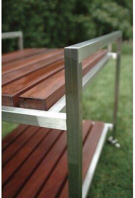 Modern Outdoor Talt Bar Serving Cart Frame: Stainless Steel, Surface: Brazilian Walnut